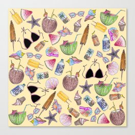 Summer Cute Girly Beach Collage on Yellow Canvas Print