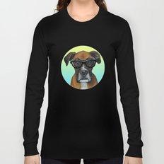 Hipster Boxer dog Long Sleeve T-shirt