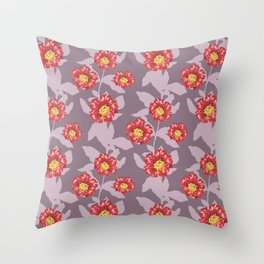 Hibiscus and pomegranate flowers in purple Throw Pillow