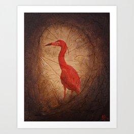 Red Heron Art Print