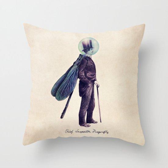 Inspector Dragonfly Throw Pillow