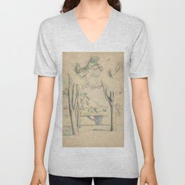 Mont Sainte-Victoire Seen beyond Wall Enhanced Vintage Watercolor Unisex V-Neck