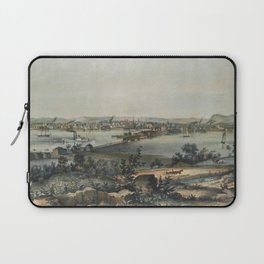 Vintage Pictorial Map of New Haven CT (1849) Laptop Sleeve