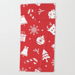 Merry Christmas Pattern - Red Beach Towel