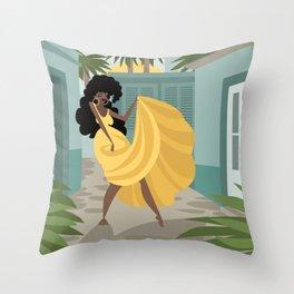 cuban rumba rumbera dancer in the streets Throw Pillow