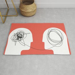 Two humans head silhouette psycho therapy concept. Rug