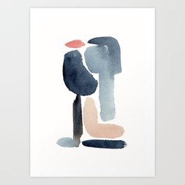 Navy Blue Minimal Figure Art Print