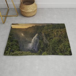 Hällingsafallet Waterfall evening sunset mountain landscape mountain waterfall Jamtland County Sweden Rug