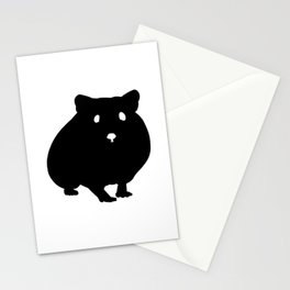 Hamster Black Silhouette Pet Animal Cool Style Stationery Cards