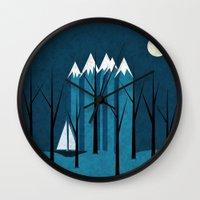 sailing Wall Clocks featuring Sailing by Illusorium