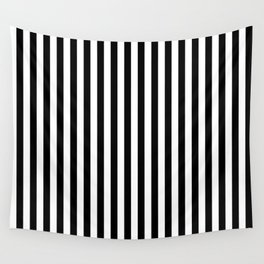 Black and White Pin Striped Pattern Wall Tapestry