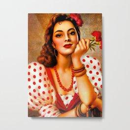 Mexican Sevillana Calendar Girl by Jesus Helguera Metal Print