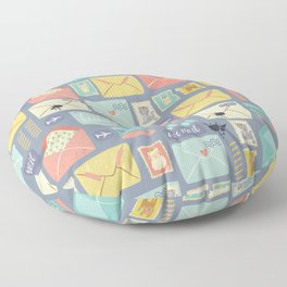Retro styled pattern with letters and postcards Floor Pillow