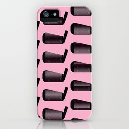 Golf Club Head Vintage Pattern (Pink/Black) iPhone Case