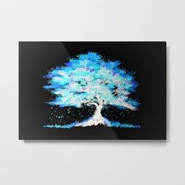 Luminescent Blue Tree Metal Print