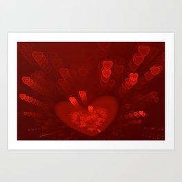 Red Hearts St. Valentine's Galentine's Sweetest Day love Burgundy Bordo Vinous Ruby Garnet Pattern Art Print