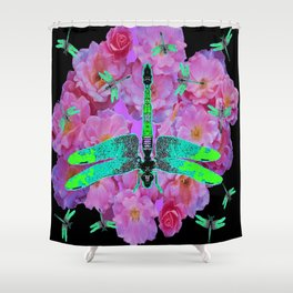 EMERALD DRAGONFLIES  PINK ROSES  BLACK COLOR Shower Curtain