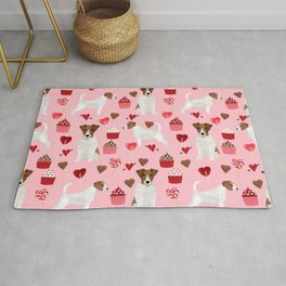 Jack Russell Terrier valentines day cupcakes and hearts love pattern gifts for dog lovers Rug