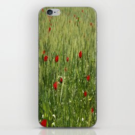 Red Poppies Growing In A Corn Field  iPhone Skin