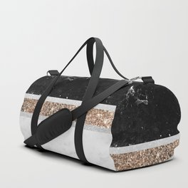 Black and White Marble Gold Glitter Stripe Glam #1 #minimal #decor #art #society6 Duffle Bag