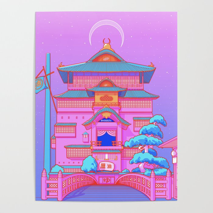 """""""New Tokyo Moonrise"""" the Spirited Away Bathhouse by Aris Roth Poster"""
