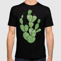 Linocut Cactus #1 Mens Fitted Tee Black MEDIUM