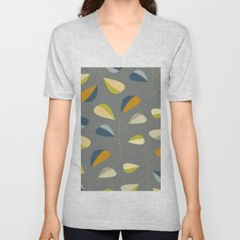 Mid Century Modern Graphic Leaves Pattern 3. dark grey Unisex V-Neck