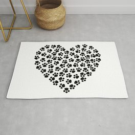 Heart with pets paws Rug