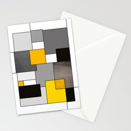Black Yellow and Gray Geometric Art Stationery Cards