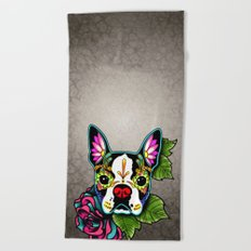 Day of the Dead Boston Terrier Sugar Skull Dog Beach Towel