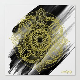Black & Gold Zendala Canvas Print