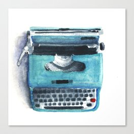 Little Blue Typwriter Canvas Print