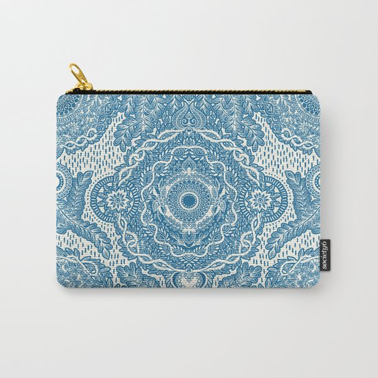 Rain in the Garden - blue and cream Carry-All Pouch