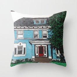Blue house reduction linocut Throw Pillow