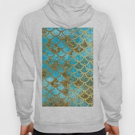 Aqua Teal & Gold Glitter MermaidScales - Mermaid Scales And Sea Foam Hoody