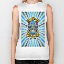 Sugar skull- Day of the dead- blue Biker Tank