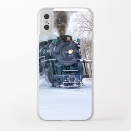 North Pole Express Train (Steam engine Pere Marquette 1225) Clear iPhone Case