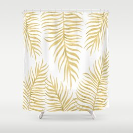 Fern Pattern Gold Shower Curtain