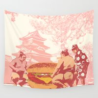 fight Wall Tapestries featuring Food fight by Jimi Grey