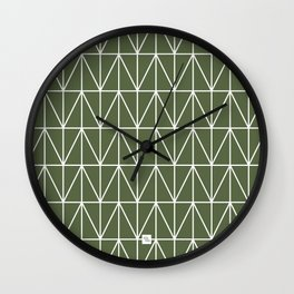 CHEVRON TRIANGLES - OLIVE Wall Clock