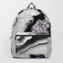 Gray Black White Agate with Purple Black Silver Glitter #1 #gem #decor #art #society6 Backpack