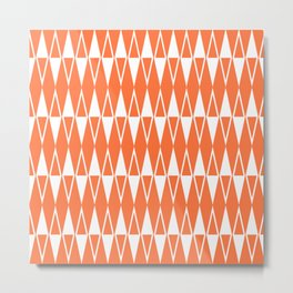Mid Century Modern Diamond Pattern Orange 234 Metal Print