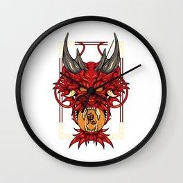 Japanese Demon Art Mask Devil Oni Kanji T-Shirt Wall Clock