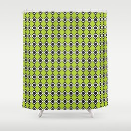 Geometric Pattern 80 (lime green diamonds) Shower Curtain