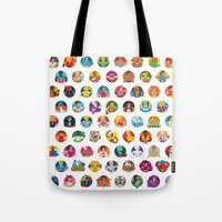 foo fighters Tote Bags featuring Street Fighters by Kid Khronos