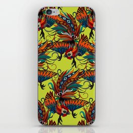 rooster ink chartreuse iPhone Skin