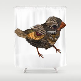 Ornate Bird - coloured Shower Curtain