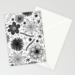 black and white floral print Stationery Cards