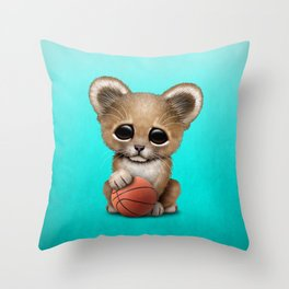 Lion Cub Playing With Basketball Throw Pillow