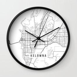 Kelowna Map, Canada - Black and White  Wall Clock
